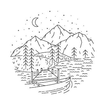 Ilustración de línea de naturaleza de lago de montaña