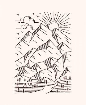 Ilustración de línea de paisaje de montaña