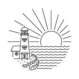 Ilustración de línea de playa de faro de verano