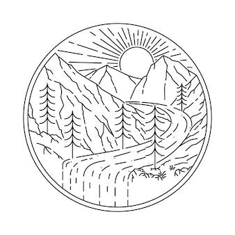 Ilustración de línea salvaje de montaña de naturaleza