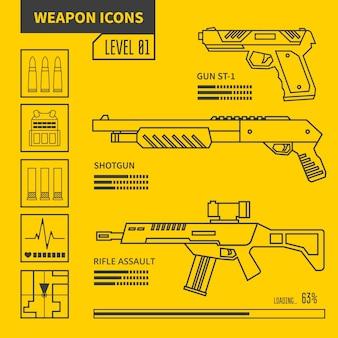 Ilustración de línea de vector de arma