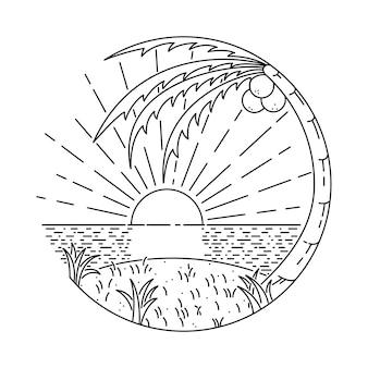 Ilustración de línea de verano playa isla