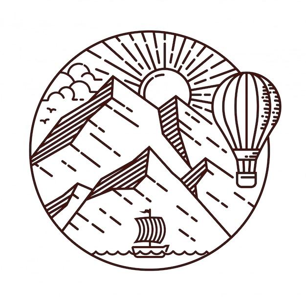 Ilustración de línea de viaje de montaña