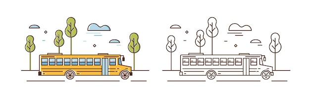 Ilustración lineal del autobús escolar amarillo