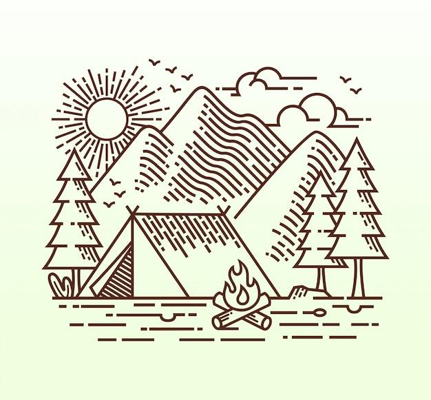Ilustración lineal de camping