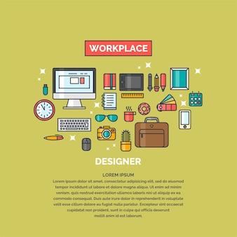 Ilustración lineal del espacio de trabajo para el diseñador. lugar de trabajo y sujetos de la oficina comercial.
