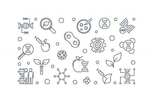 Ilustración lineal de organismos genéticamente modificados