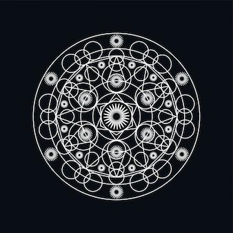 Ilustración de lineart de mandala geométrica de plata