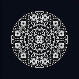 Ilustración de lineart mandala geométrica plateada aislada en negro. motivo tradicional. tatuaje de boho