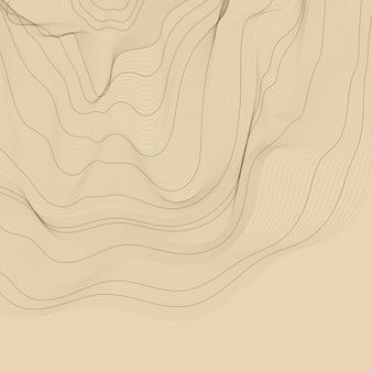 Ilustración de líneas de contorno abstracto marrón