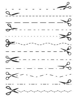 Ilustración de líneas de corte de tijeras