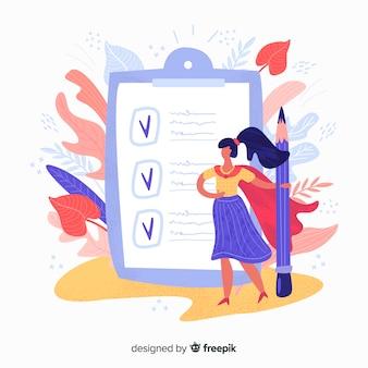 Ilustración lista de comprobación gigante con hojas y mujer dibujada a mano