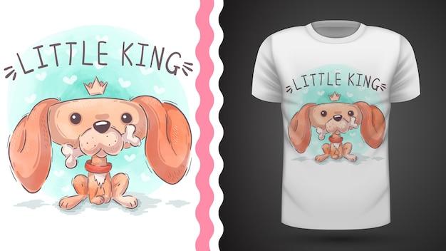 Ilustración de little king dog para camiseta estampada