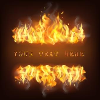 Ilustración de llama de fuego realista