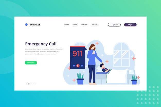 Ilustración de llamada de emergencia para concepto médico en la página de destino