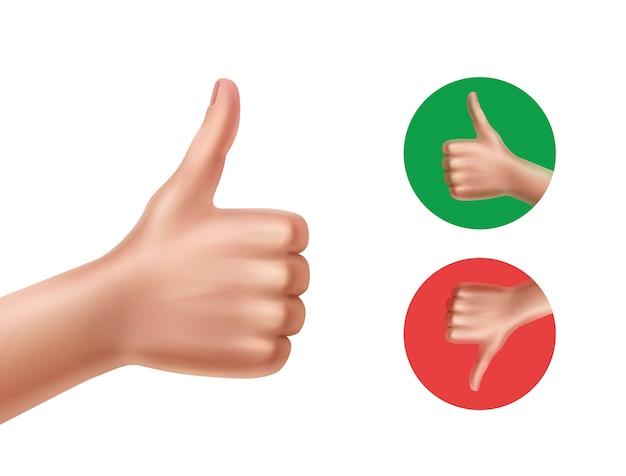 Ilustración de lo bueno y lo malo con las manos mostrando los pulgares hacia arriba y hacia abajo