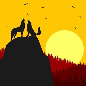 Ilustración de lobo aullando