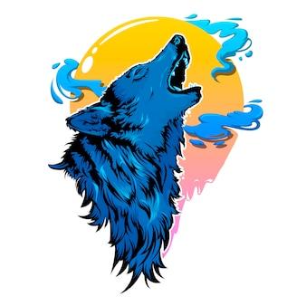Ilustración de lobo azul