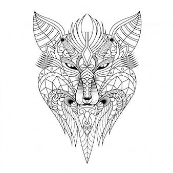 Ilustración de lobo, mandala zentangle y diseño de camiseta.