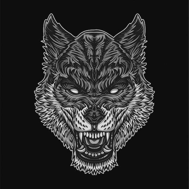 Ilustración de lobo plateado