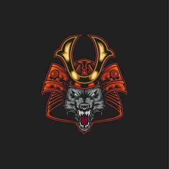 Ilustración de lobo samurai