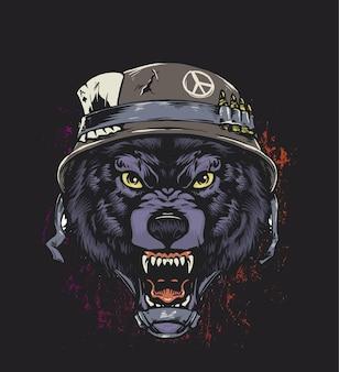 Ilustración de lobo soldado enojado