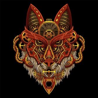 Ilustración de lobo steampunk
