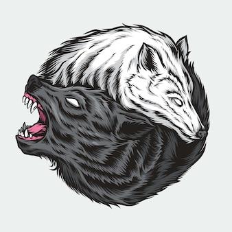 Ilustración de lobo yin yang