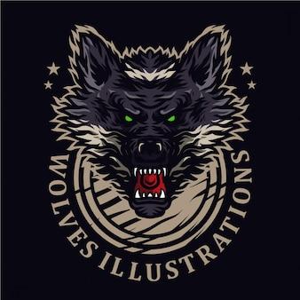 Ilustración de lobos enojados