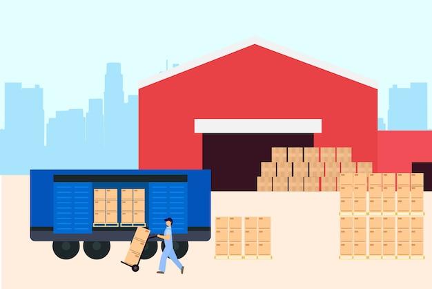 Ilustración logística de almacén.