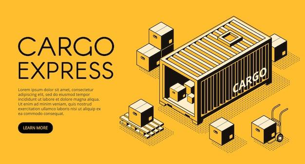 Ilustración logística de contenedores de carga de almacén con cajas de paquetería descargadas en palet