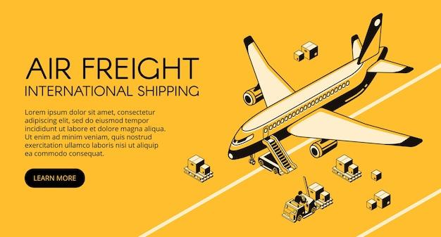 Ilustración de logística de flete aéreo del avión y paquetes en carretilla elevadora o plataforma de carga