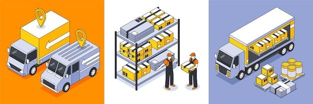 Ilustración de logística isométrica