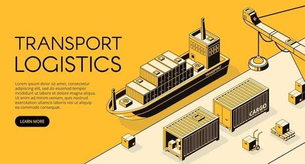 Ilustración de logística de transporte marítimo de líneas finas en semitono isométrico negro.