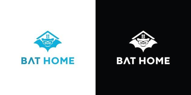 Ilustración del logo de bat home vector premium