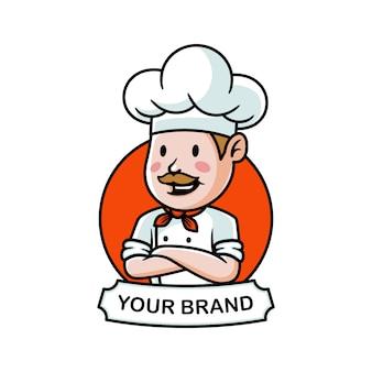 Ilustración de logo de bigote de chef de dibujos animados
