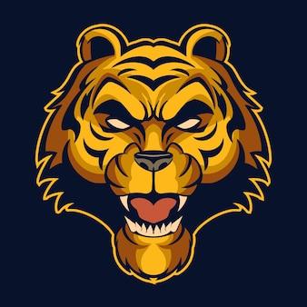 Ilustración del logo de cabeza de tigre aislado en la oscuridad