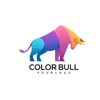 Ilustración de logo colorido de toro