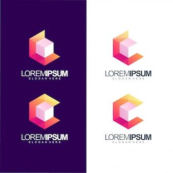 Ilustración de logo de cubo de letra c