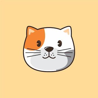 Ilustración de logo de dibujos animados de cabeza de gato