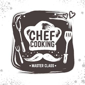 Ilustración de logo de doodle de cocinero