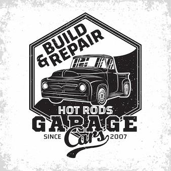 Ilustración de logo de garaje de hot rod
