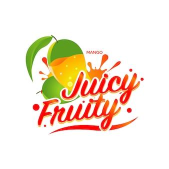 Ilustración de logo de jugo de mango fresco