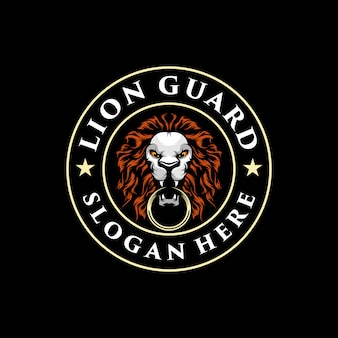Ilustración de logo de león impresionante