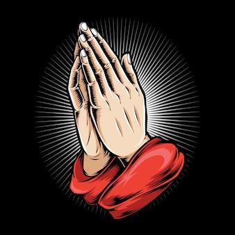 Ilustración de logo de mano rezando