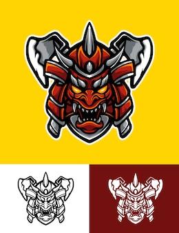 Ilustración del logo de oni samurai