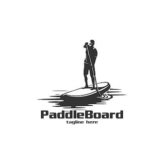 Ilustración de logo de paddle board silueta