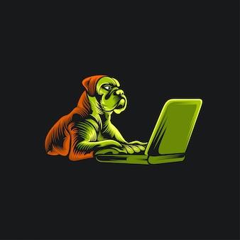Ilustración de logo de perro y laptop
