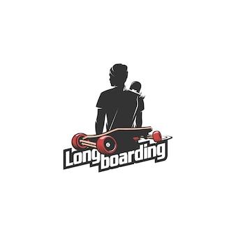 Ilustración de logo de silueta de hombre de longboard