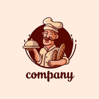 Ilustración de logo de vector de mascota de chef de panadería